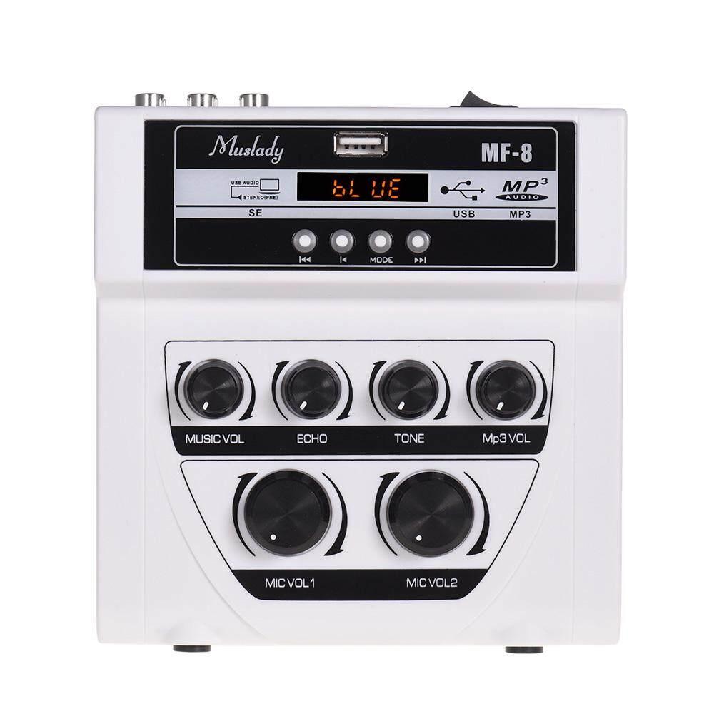 Máy Trộn Âm Thanh MF-8 Muslady Mini, Máy Trộn Âm Thanh Nổi Tiếng Vang Đầu Vào Micro Kép Hỗ Trợ BT Ghi Âm Chức Năng MP3 Phích Cắm Kiểu Mỹ màu Trắng
