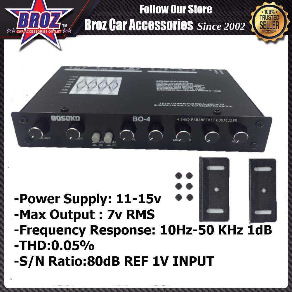 BOSOKO 4 BAND PRE-AMPLIFIER WITH SUBWOOFER OUTPUT CAR AUDIO SYSTEM