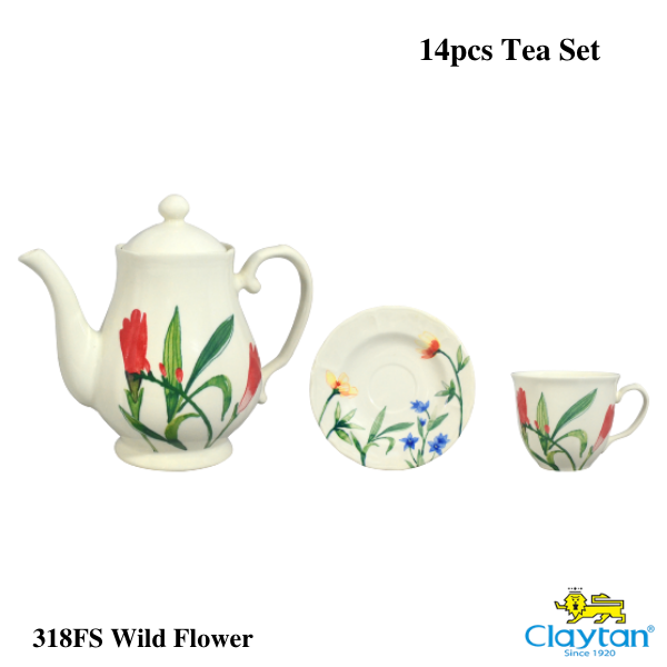 Claytan Tableware - 14pcs Tea Set - Wild Flower