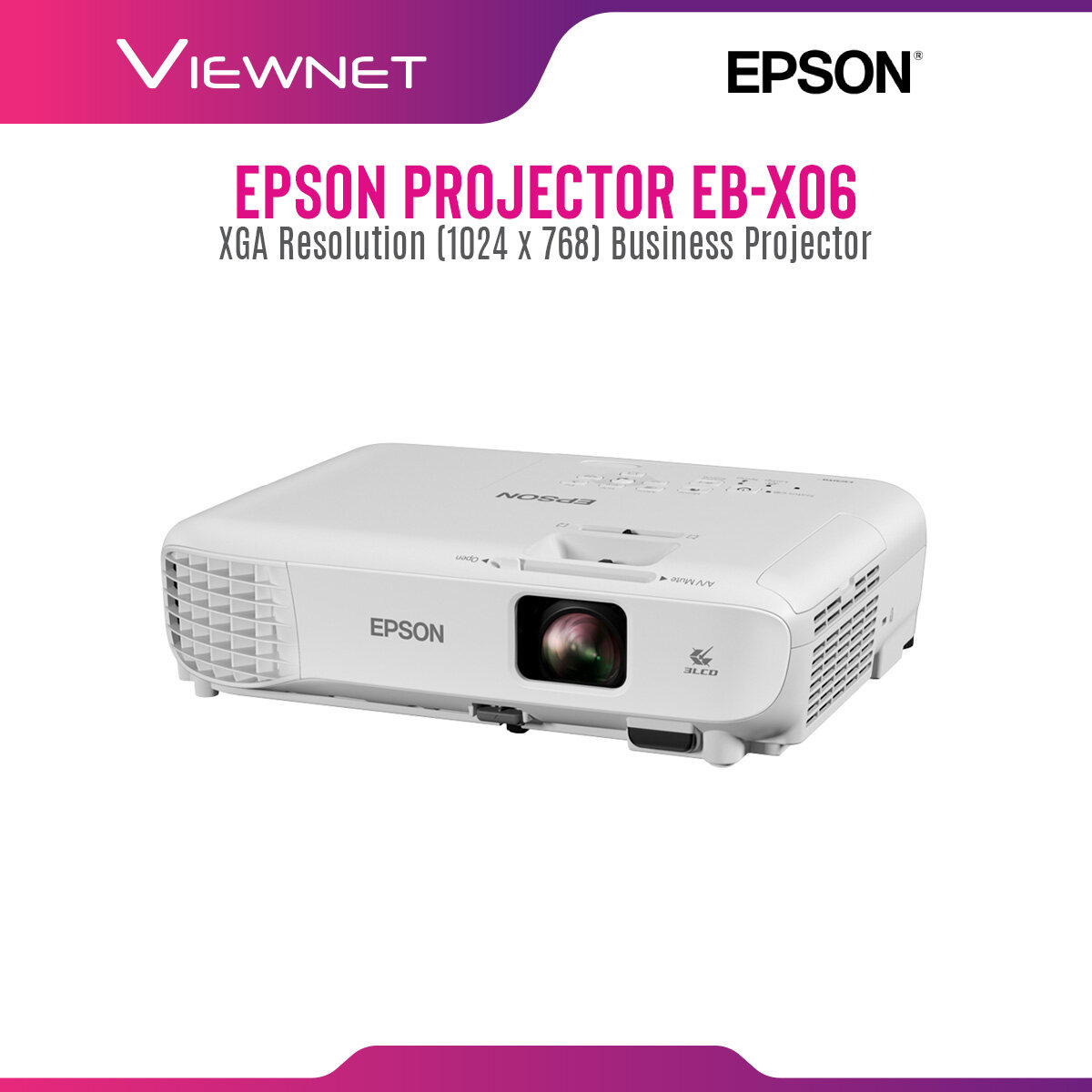 Epson Projector EB-X06 with XGA Resolution (1024 x 768), 3600 Lumens, 12000 Hours Lamp Life in Eco Mode