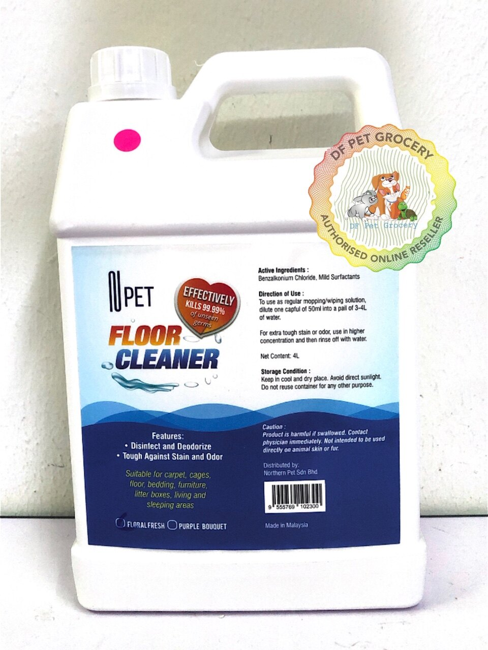 Npet Floor Cleaner & Disinfect and Deodrize (4L) Effectively Kills 99.99% Of Unseen Germs