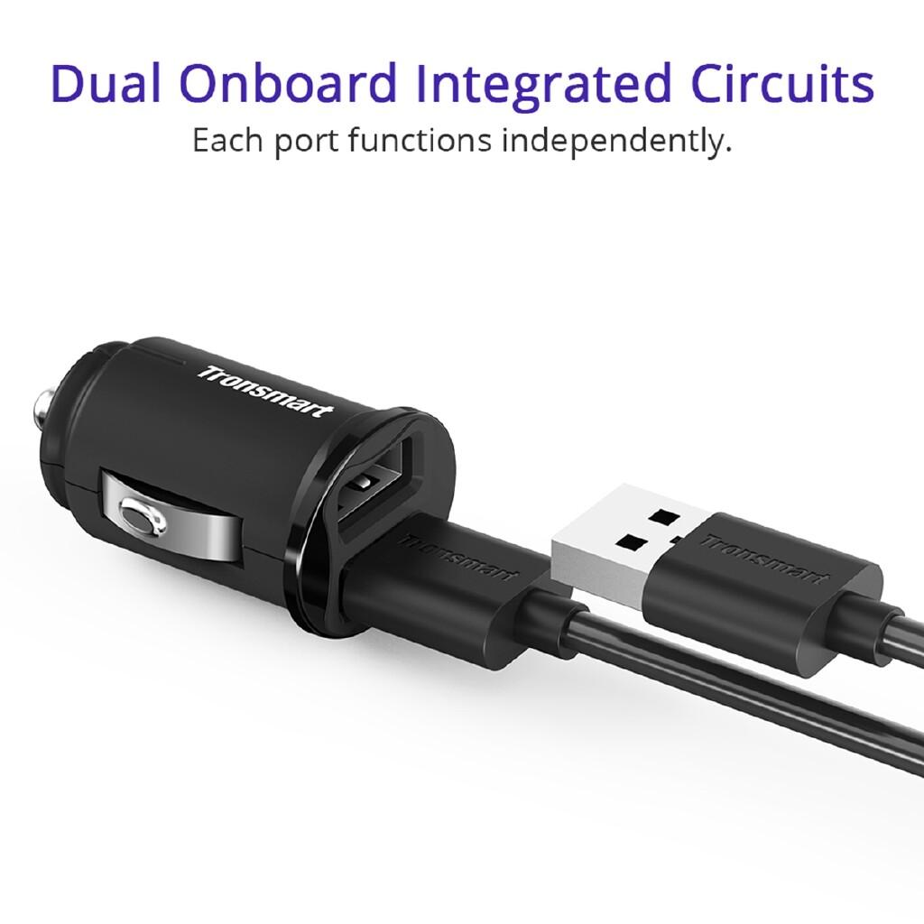 Car Accessories - Tronsmart C24 24W Dual USB Port 12/24V Car Charger W/ VoltiQ For iPhone Samsung - Automotive