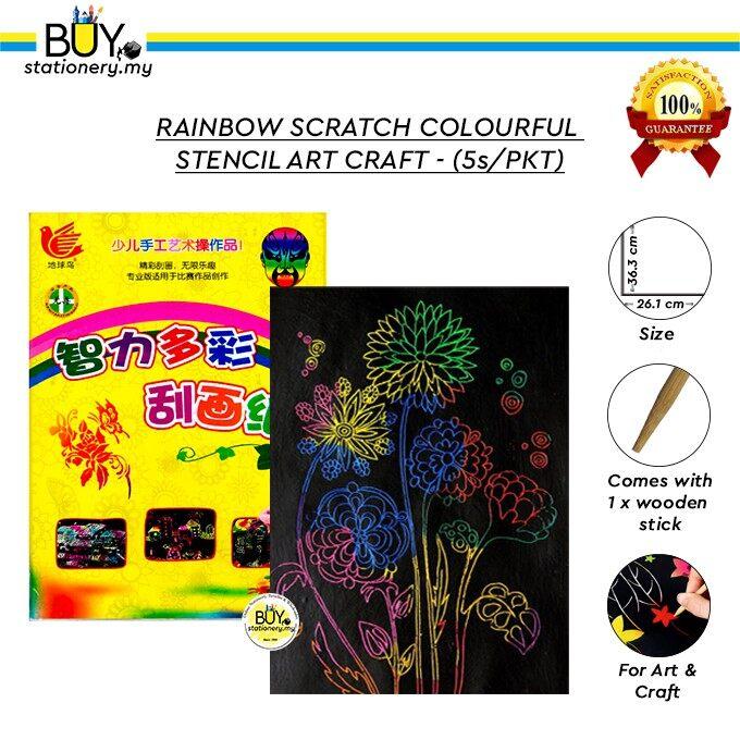 A3 Rainbow Scratch Colourful Stencil Art Craft - (5s/PKT)