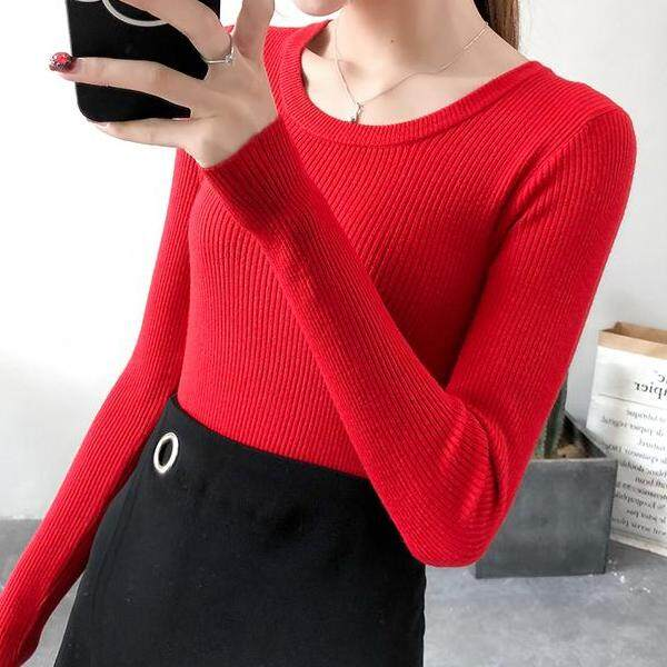 JYS Fashion Korean Style Women Knit Top Collection 526-6574col525a-6574--Red- One size