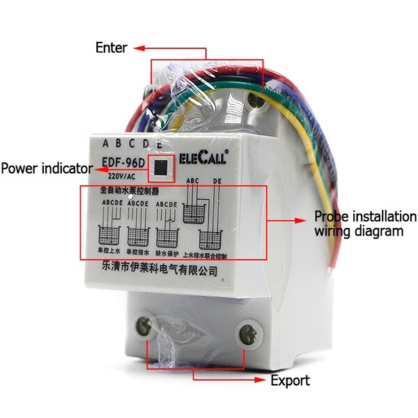 DIY Tools - DF96D AC220V 5A Din Rail Mount Float Switch Auto Water Level Controller 3 Probe - Home Improvement
