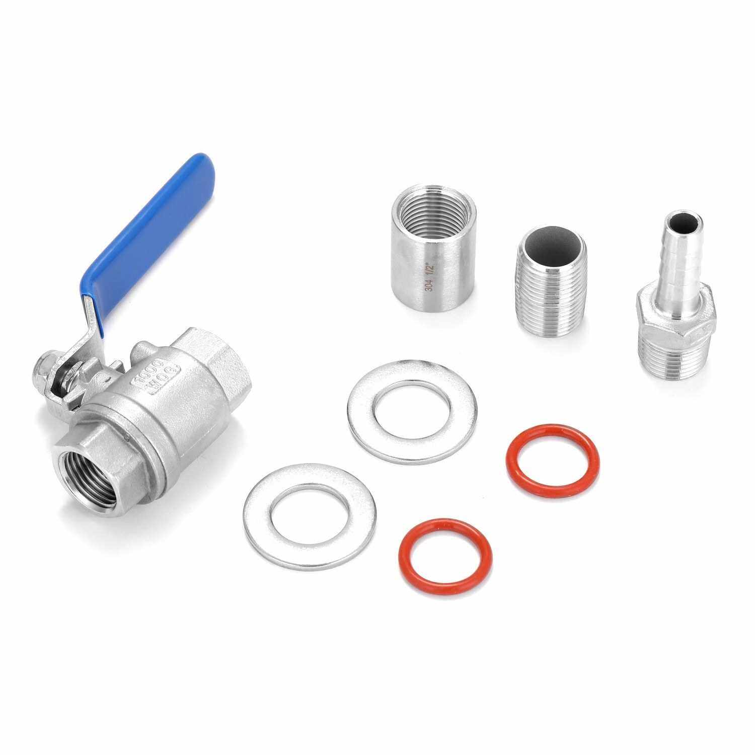 1/2'' Stainless Steel Compact Ball Valve Barb Homebrew Beer Kettle Brew Wine Tap (Standard)