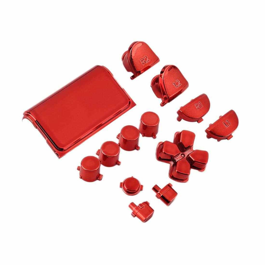 Chrome Button Replacement Mod Game Kit for Playstation 4 PS4 Controller (Red)