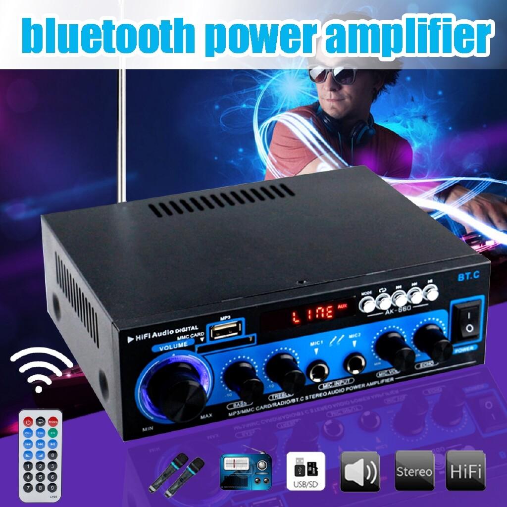 Amplifiers & Receivers - 2 CH 1000W BLUETOOTH Power Amplifier HiFi Stereo Audio USB FM MP3 Speaker - / 220V