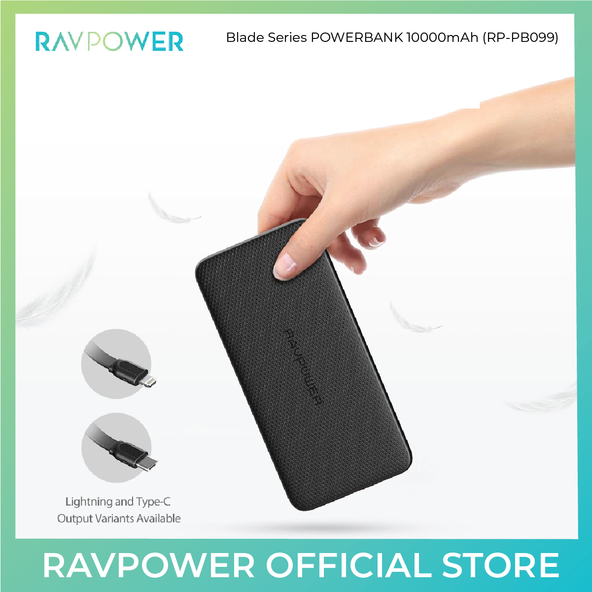 RAVPower Blade Series Portable Charger with Built-in-Cable (RP-PB099) - 10000mAh