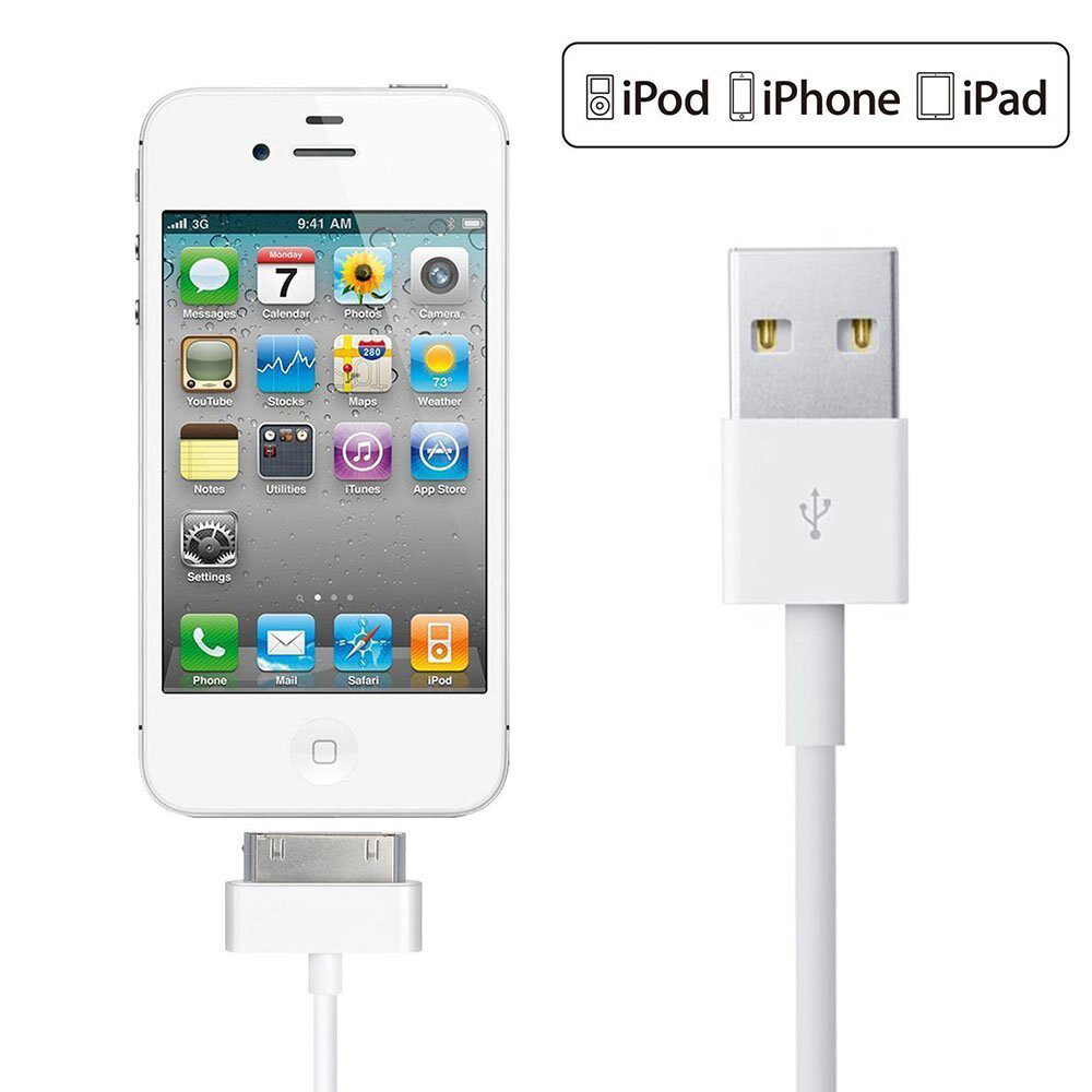USB Charger Cable for iPhone 4 4s iPod Nano iPad 2 3 30-Pin Data USB Charging Cable