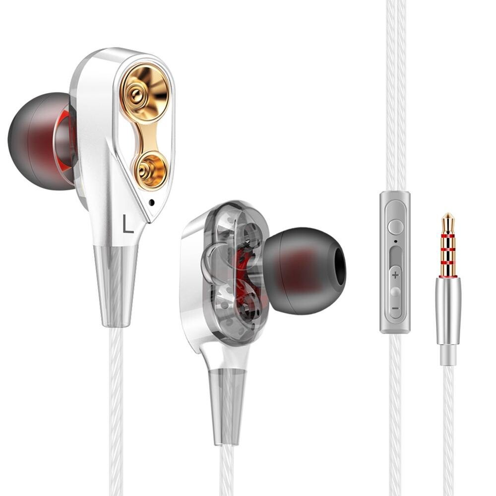 High Bass Dual Drive Stereo In-Ear Earphones with Microphone 3.5mm - SILVER / BLACK / EARPHONEBAG / GOLD