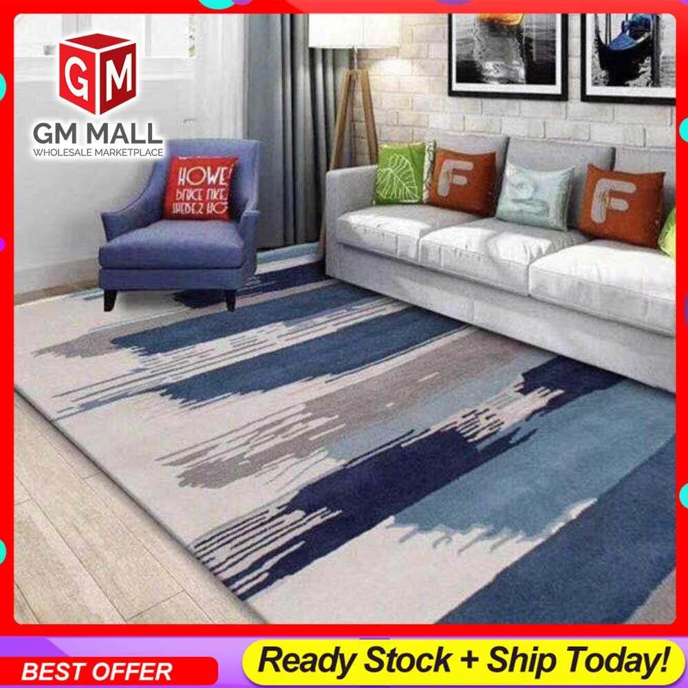 NEW DESIGN CARPET SIZE BESAR L/XL European Style Carpet Printed 3D Grey Blue Paint Mat Floor - Karpet Bercorak 3D Waterproof/Living Room/Bedroom Material Velvet (C-10)