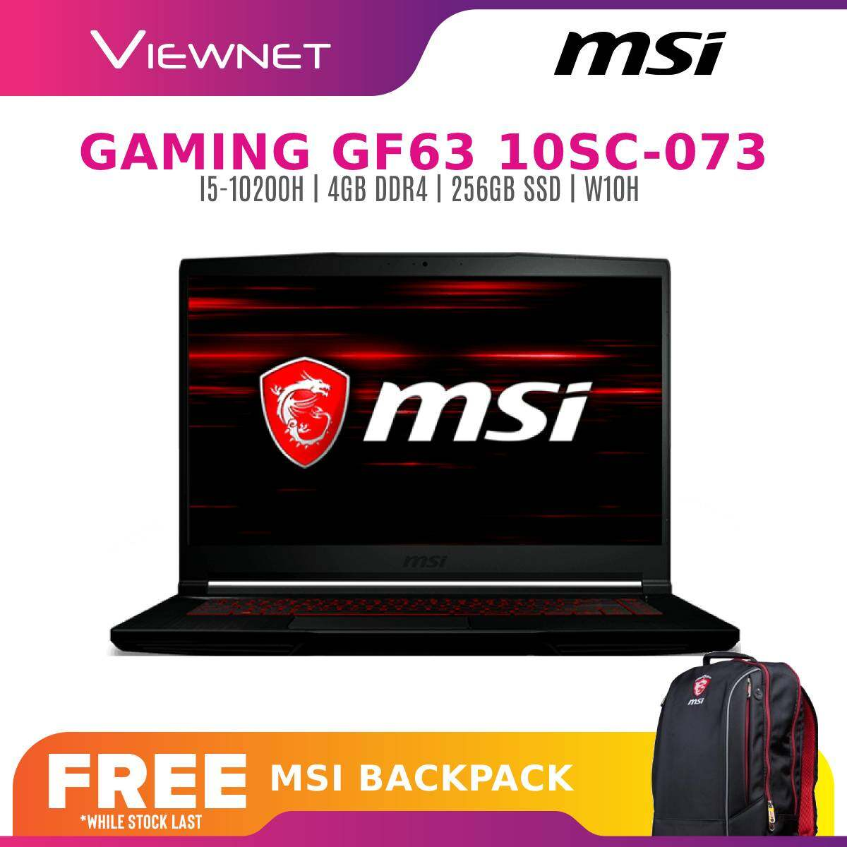 MSI GAMING LAPTOP GF63 10SC-073MY (INTEL CORE I5-10200H PROCESSOR/ NVIDIA GEFORCE GTX 1650 MAX-Q, 4GB GDDR6)