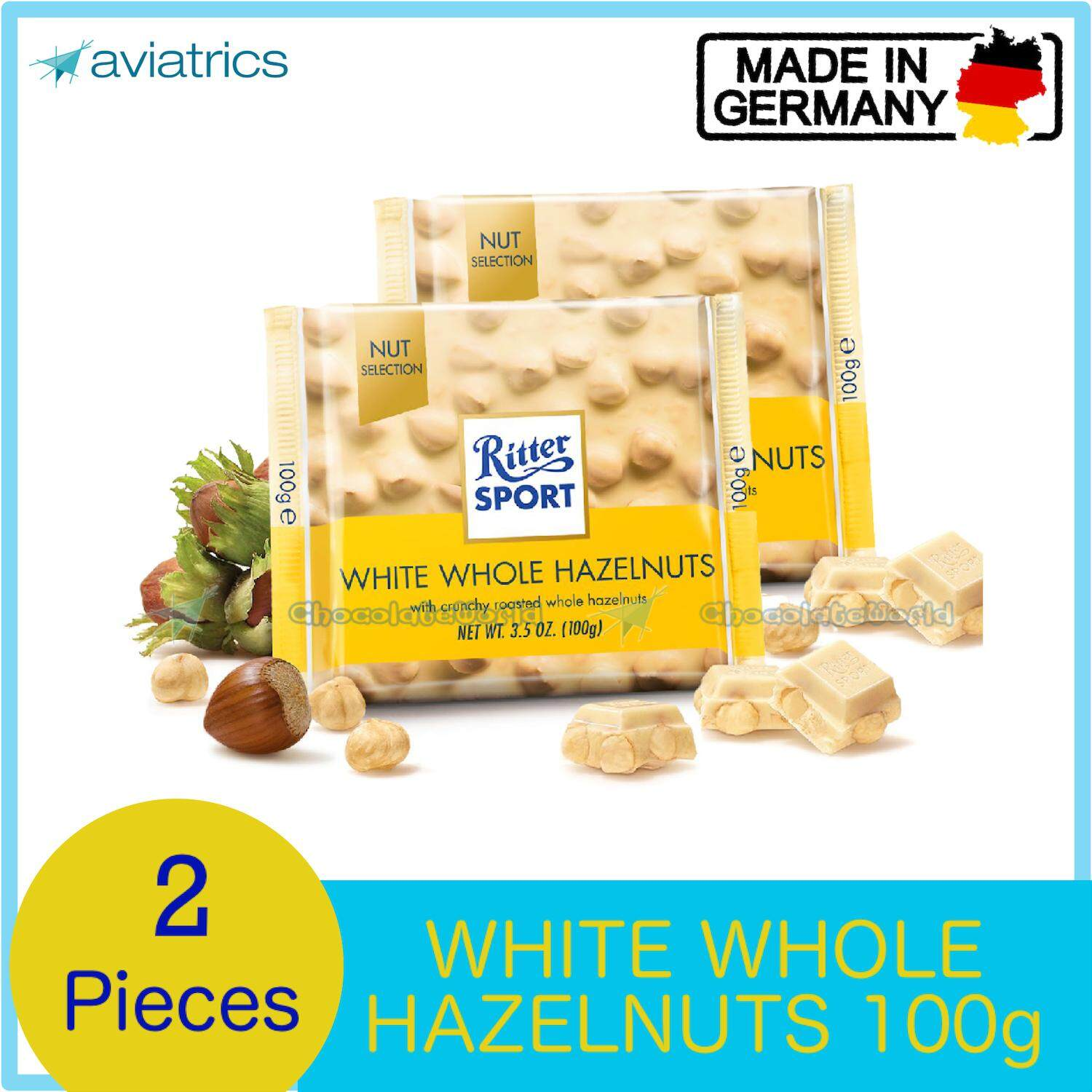 Ritter Sport White Whole Hazelnuts 100g X 2 (Made in Germany)