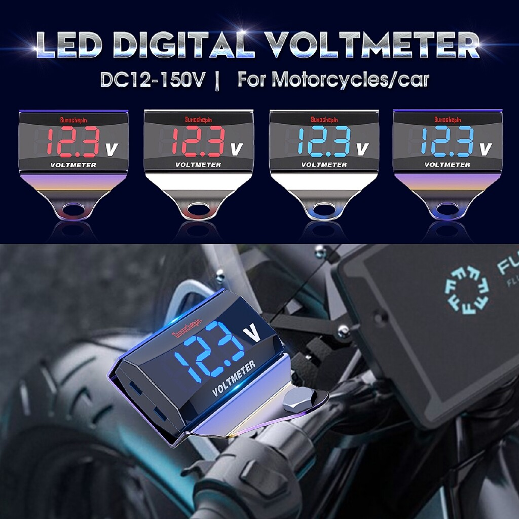 Moto Accessories - 12V-150V Car Motorcycle Digital LED Display Voltmeter Voltage Panel Meter - RED+SYMPHONY / WHITE+SYMPHONY / RED+SILVER / WHITE+SILVER / BLUE+SYMPHONY / BLUE+SILVER