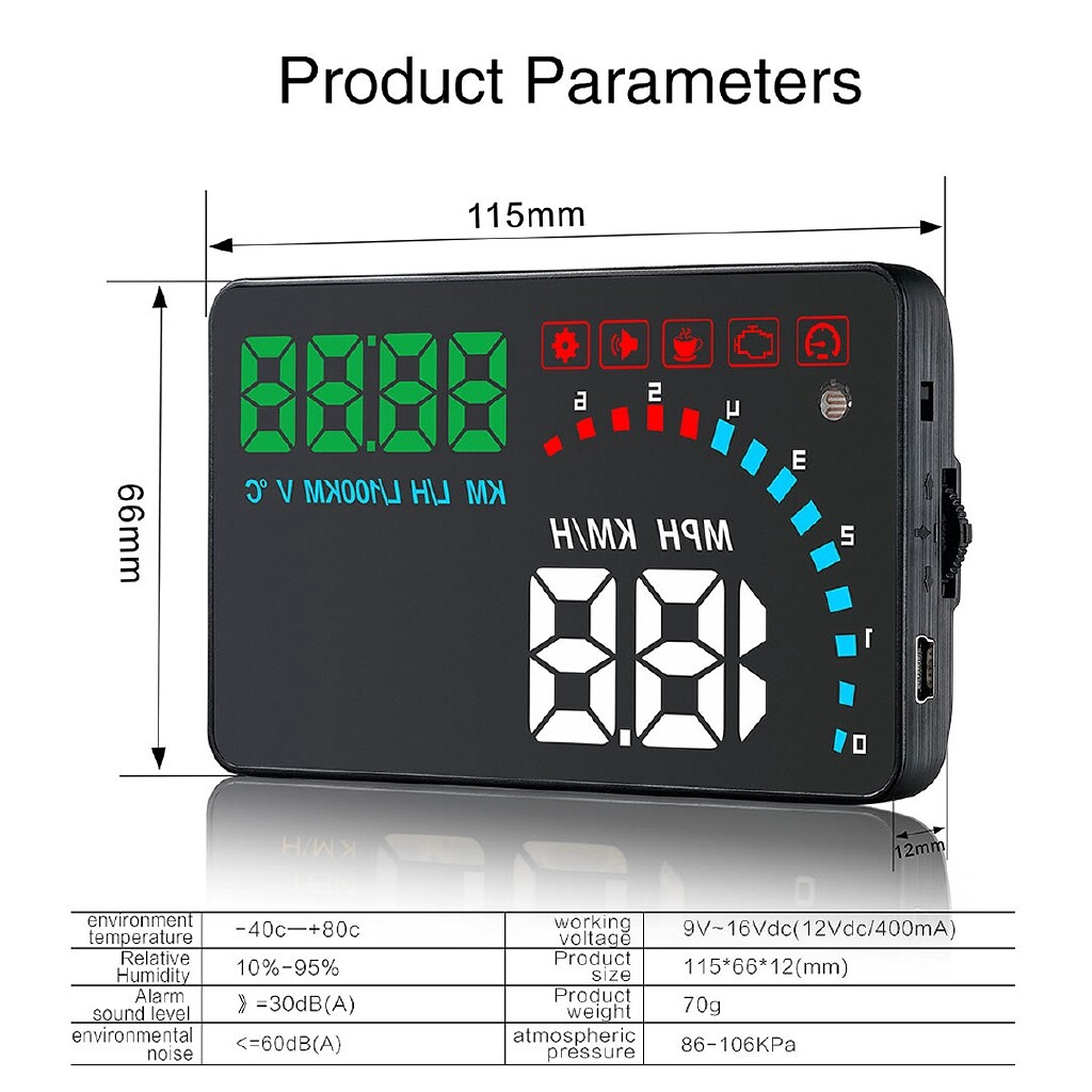 Car Lights - Universal 4'' Car HUD Head Up Display OBD2 OBDII Auto Digital Speed Warning - Replacement Parts