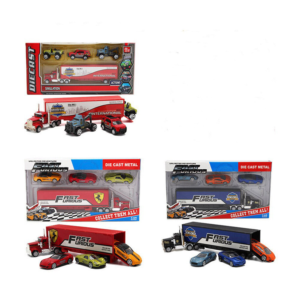 4PCS Alloy Toy Vehicle Set 1 Container Truck 3 Mini Vehicles Birthday Christmas Halloween Gift