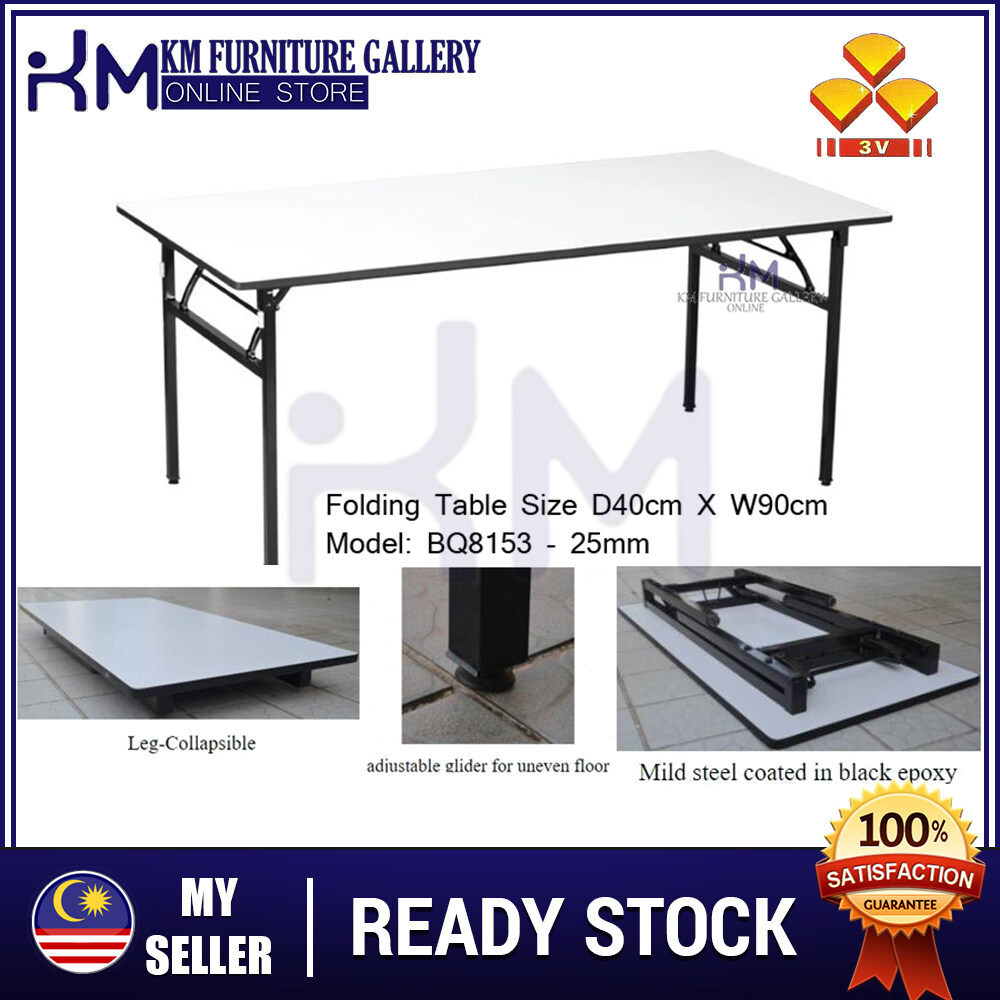 KM Furniture Gallery 3V Folding Table 1.5' X 3' Heavy Duty Foldable Wood Top Banquet Table/ Folding Banquet Table/ Function Table/ Catering Table/ Buffet Table/ Hall Table/ Office Table/ Meja Banquet/ Meja Lipat/ Meja Niaga/ Meja Kayu KMBQ8153
