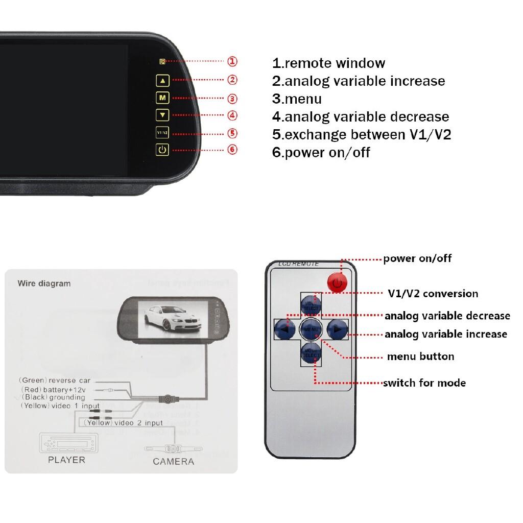 Car Lights - Rear Brake Light Reverse Camera Kit 7 LED Monitor For Fiat Ducato Boxer Citroen - Replacement Parts