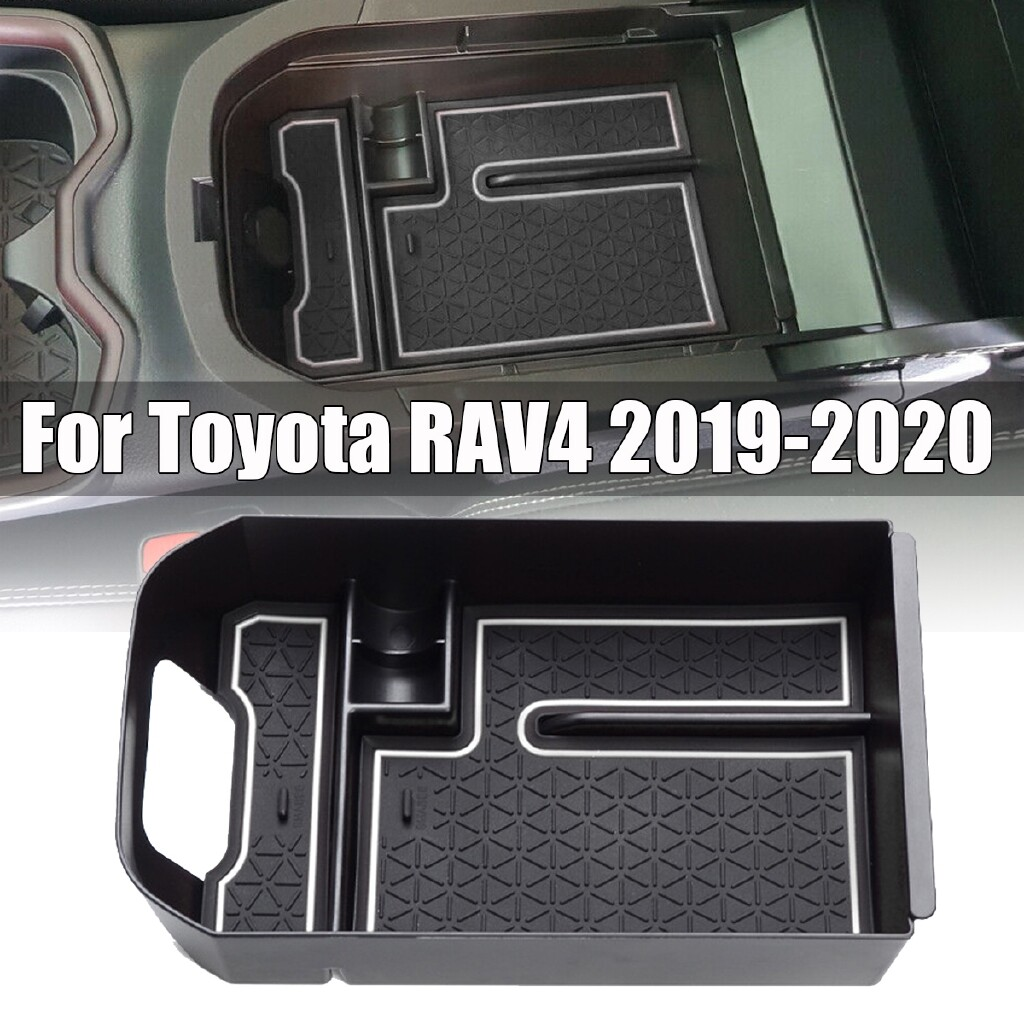 Car Replacement Parts - 7 Black Car Interior Armrest Storage Organizer Box For Toyota RAV4 2020 Elec-Mall - Automotive
