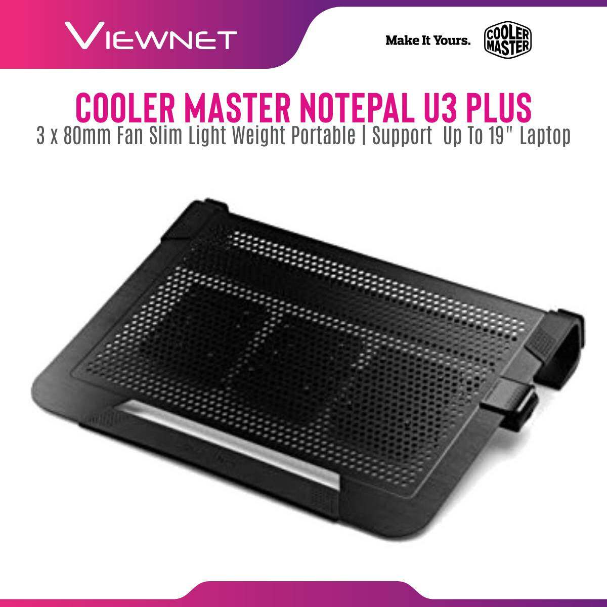 Cooler Master Notepal U3 PLUS 3 x 80mm Fan Slim Light Weight Portable Mesh USB 2.0 Notebook Cooler for up to 19