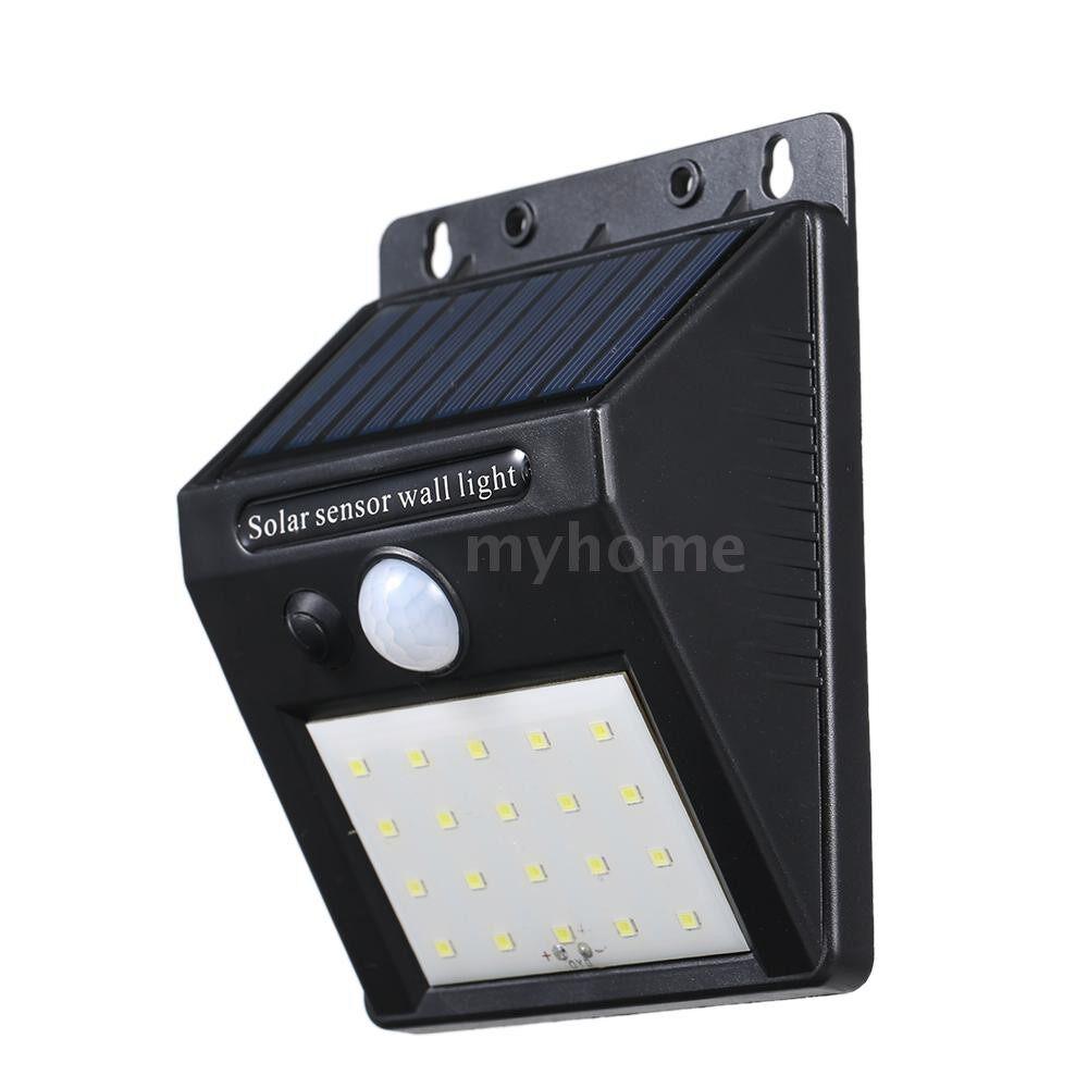 Outdoor Lighting - Solar Powered Energy 20 LED Wall Lamp Light Induction/ PIR Motion Hunman Induction Sensor IP65 - BLACK