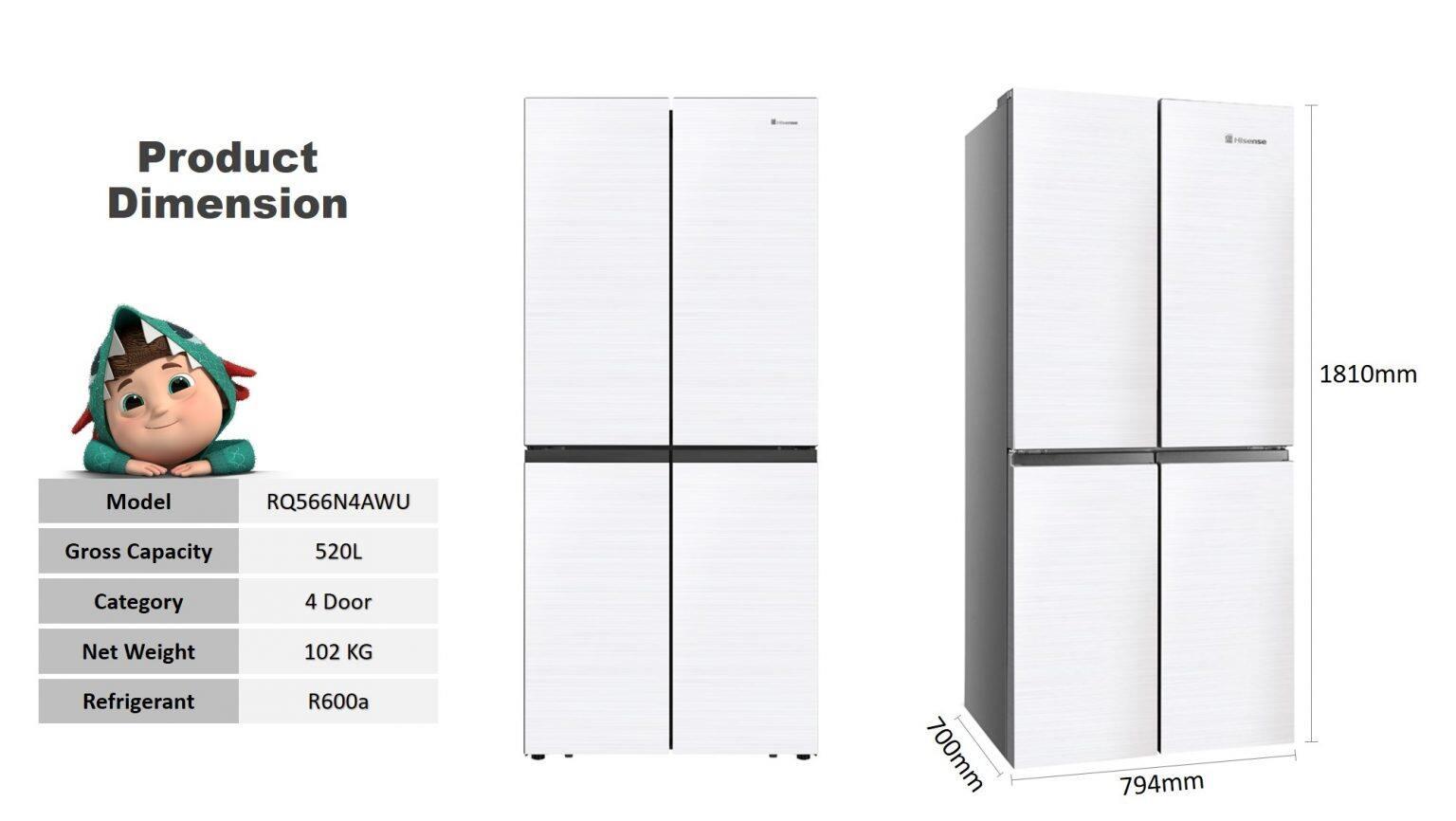 Haier/Hisense (520L/560L) 4 Door DC Inverter Refrigerator Fridge Peti Sejuk