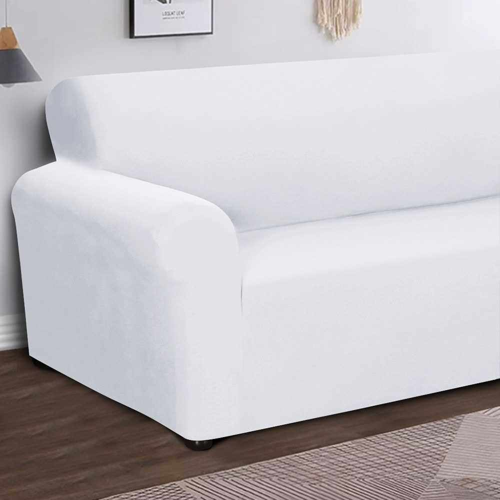 Stretch Sofa Slipcover Milk Silk Fabric Anti-Slip Soft Couch Sofa Cover 3 Seater Washable for Living Room Kids Pets(White) (White)