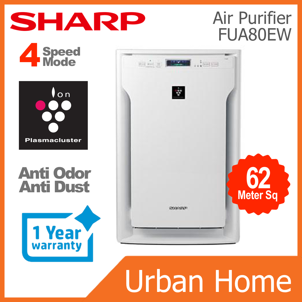 SHARP Plasmacluster Ion Air Purifier (FUA80EW/FU-A80E-W)