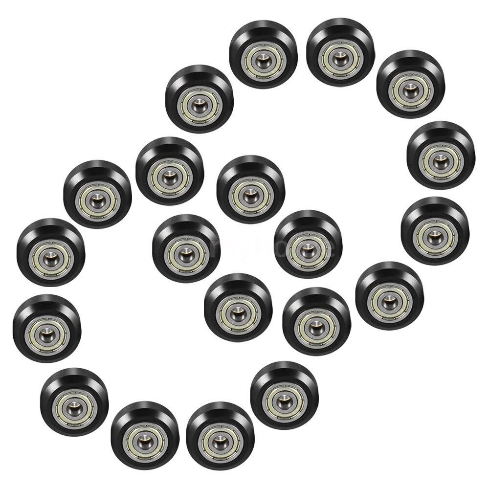 Printers & Projectors - 20 PIECE(s) Plastic Large Model Passive Round Wheel Pulley with Bearing Gear Wheel for CNC i3 3D - BLACK-20 PIECE(s) / BLACK-10 PIECE(s)