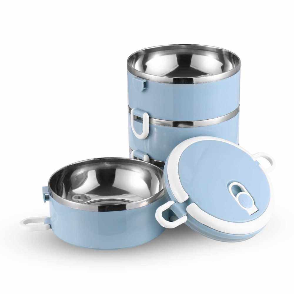 S-0530 Portable Four Layer Stainless Steel Insulated Bento Lunch Box Leak Proof Lunch Box Stackable Lunch Box with Lid Four-Tier Bento Box (Blue) 2.8L (Blue)