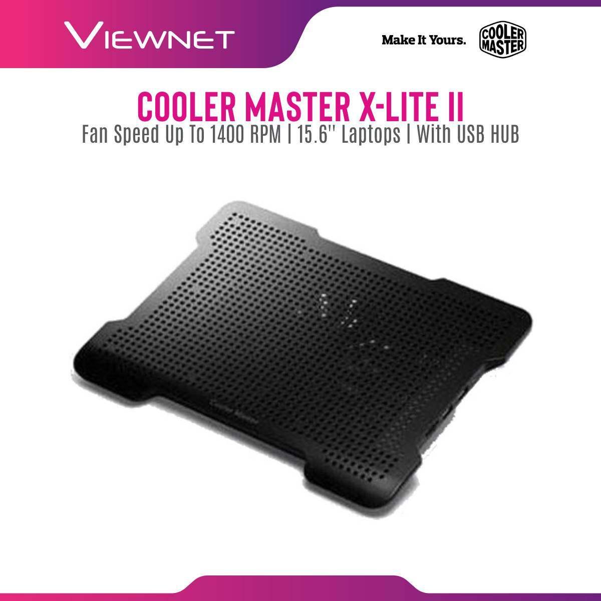 Cooler Master X-LITE II Notepal, Silent 140mm fan, Ergonomic design, Ultra slim, 2 USB outputs, Fan Speed Controller, Elegant metal plate, Cooling Pad
