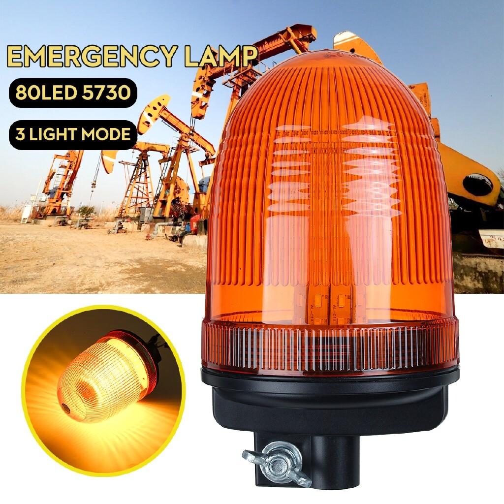 Car Lights - 12-24V 80 LED Rotating Flashing Amber Beacon Strobe Tractor Warning Light Lamp - Replacement Parts
