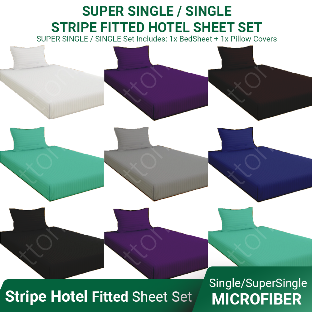 Bamboo Stripe Hotel Like Fitted Bed Sheet Set ~ SINGLE / SUPER SINGLE Size (Horizontal Stripes)- Affordable Superior Quality Microfiber