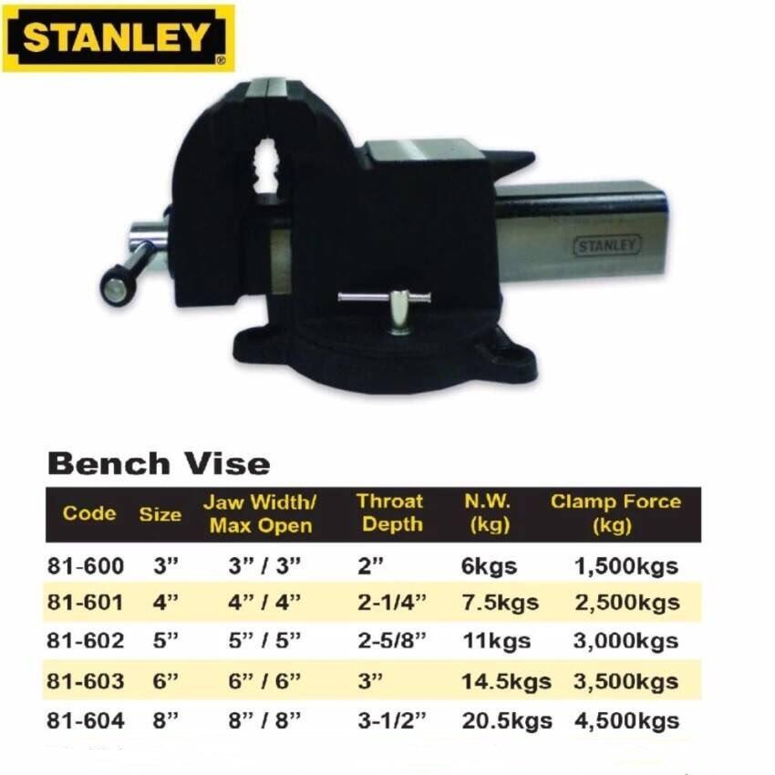 Stanley Rotatable Cast Steel Bench Vise Vises Vice With Anvil Vices 3