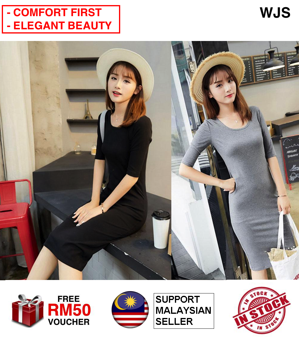 (SIMPLE AND PLAIN) WJS Simple Elegant Women Medium Cotton Dress Plain Slim Sleeves Skirts Plus Size Thin Long Skirt Dresses MULTISIZE MULTICOLOR [FREE RM 50 VOUCHER]
