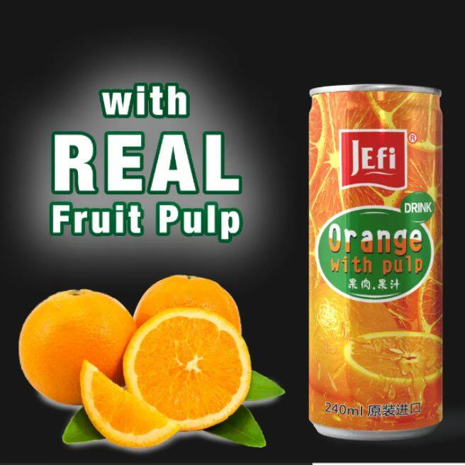 JEFI Orange Drink with Real Orange Sac (240ml x 1tins)
