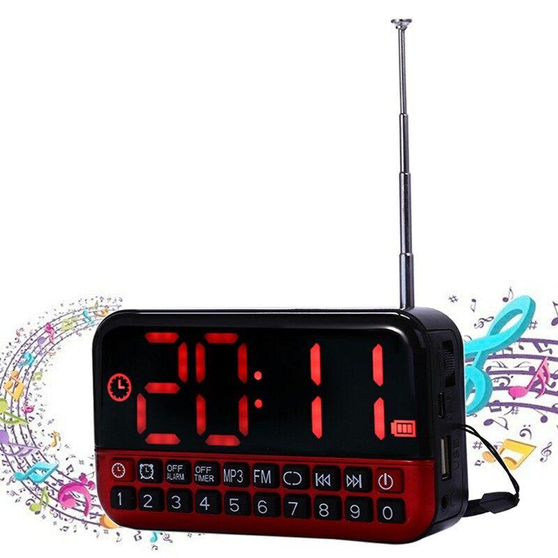 Clocks - PORTABLE Digital Alarm Clock Timer FM Radio LCD Display USB MP3 Player Speaker - RED / SILVER