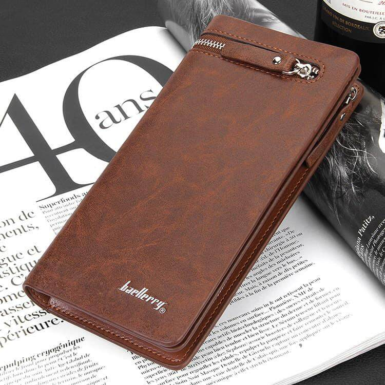[M'sia Warehouse Direct] 2020 Korean Series Men's Leather Clutch Bag Multipurpose Fengshui Long Wallet (Come With Box) Long Purse Perfect Gift For Love One Handcarry Can Fit Iphone Any Mobile Portable Bag Card Holder Dompet Panjang Kulit Halal