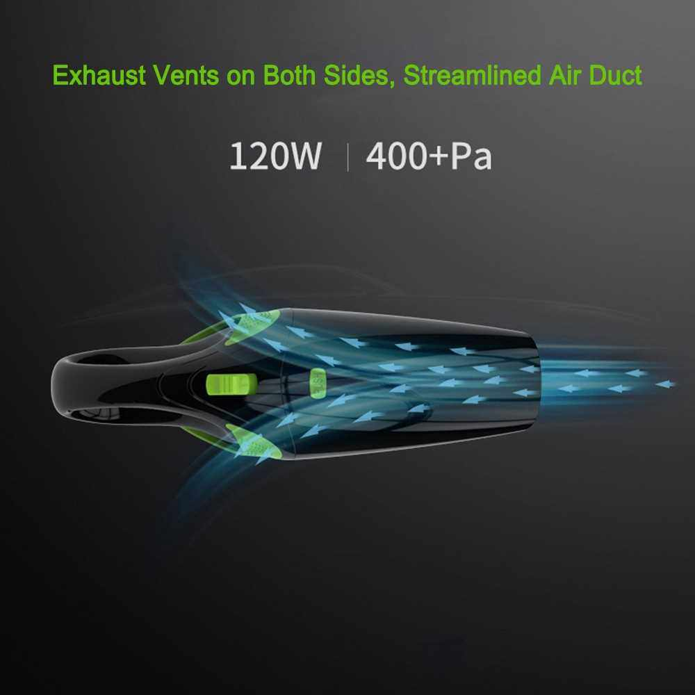 Car Wireless Vacuum Cleaner Cordless Wet/Dry 120W 4000Pa Suction Hand-held Vacuum Cleaner Portable Home and Auto Dual-use (Standard)