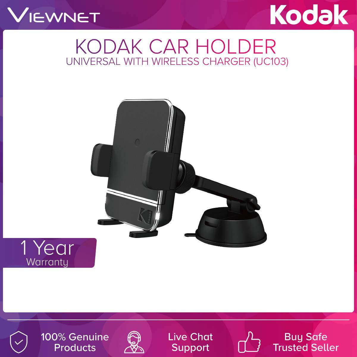 Kodak (UC103) Car Holder Universal With Wireless Charge