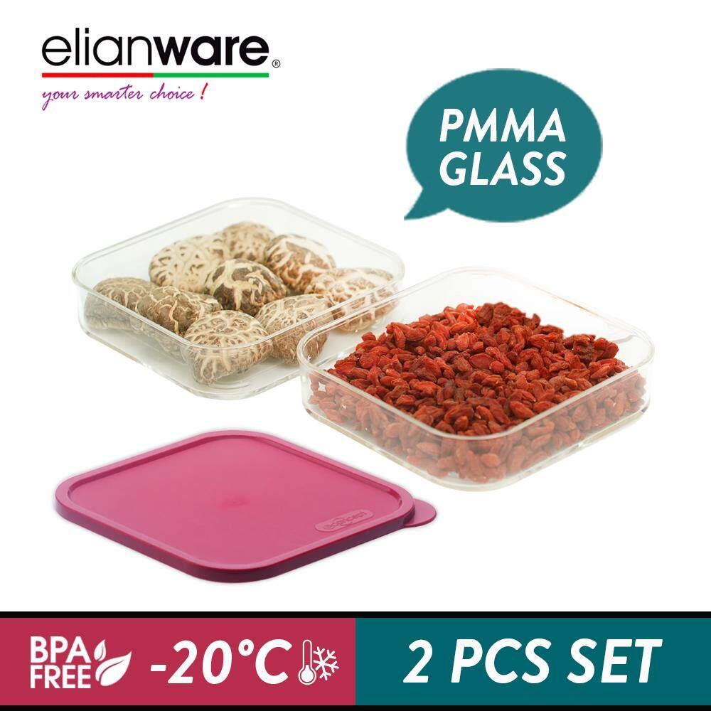 Elianware E-Concept (550ml) Square Acrylic BPA FREE Microwavable Kitchen Fridge Freezer Organizer