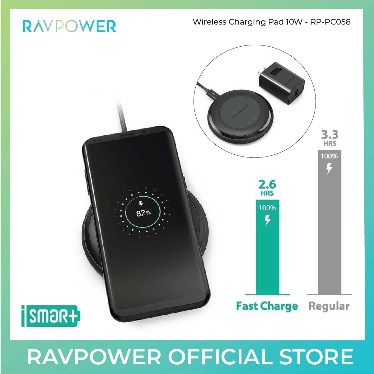 RAVPower Fast Wireless Chargers QI + QC 3.0 Adapter for iPhone 8/8 Plus & X