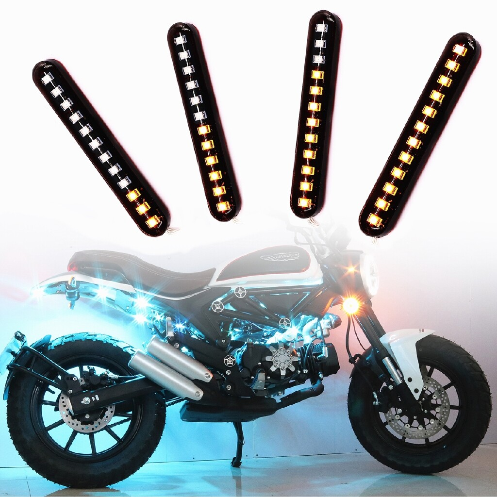 Moto Accessories - 2x Sequential Flowing Motorcycle LED MINI Strips Led Turn Signal Light Indicator - Motorcycles, Parts