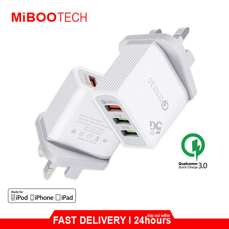 [Miboo] Original  Miboo QC 3.0 3Port USB 30W Quick Charge Hub Wall Charger Adapter UK Plug Power Charger USB Power Adapter - Adapter only