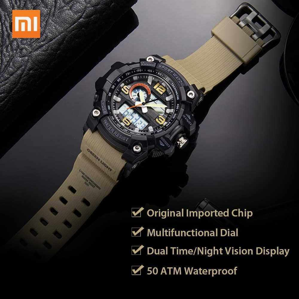 Xiaomi TwentySeventeen Outdoor Dual Display Electronic Watch Dial Dual Time Display Calendar Countdown 50 Meters Waterproof Outdoor Sport Digital Watch (Green)