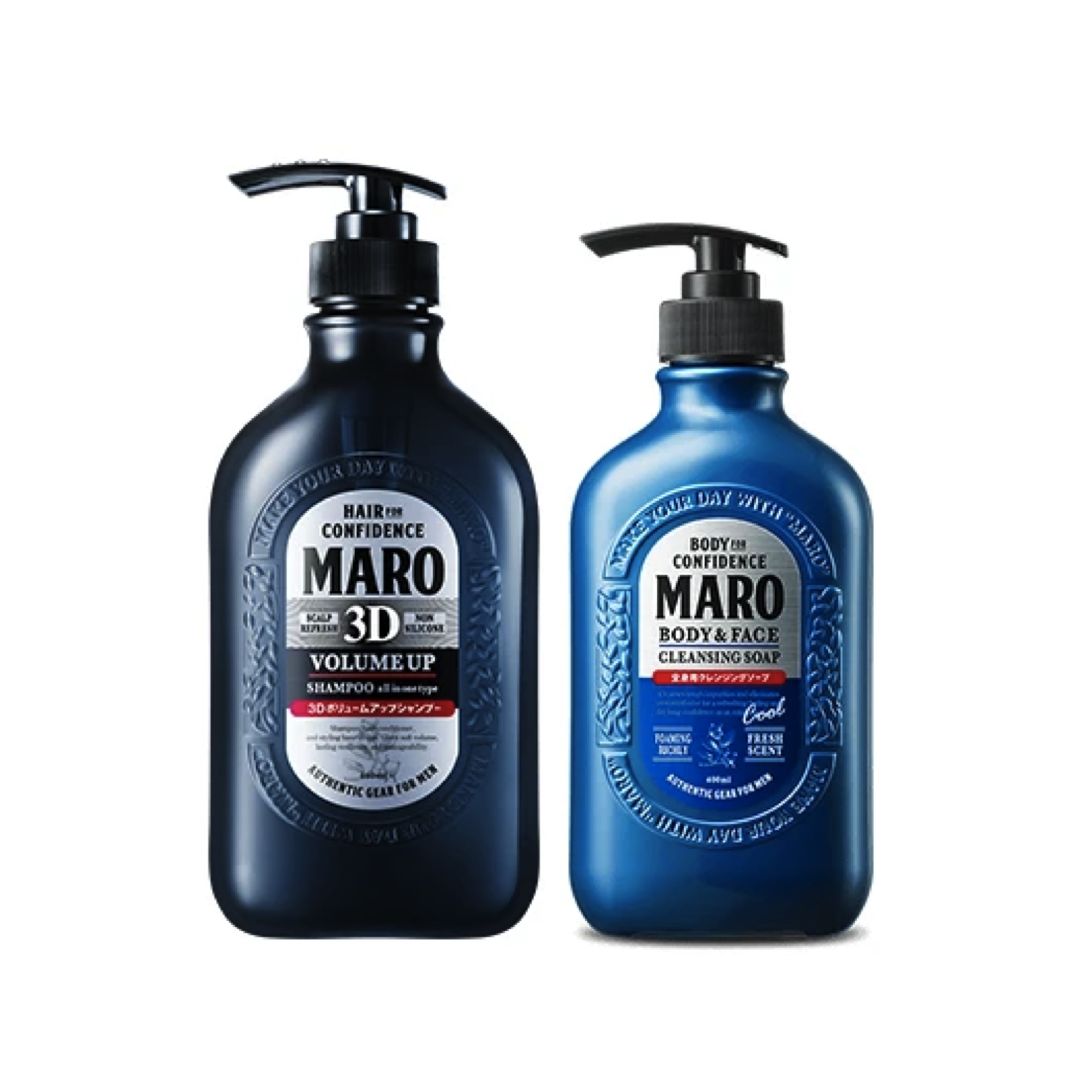 [Combo Set] Maro 3D Volume Up Shampoo EX 460ml + Maro Body and Face Cleansing Soap 400ml Cool- Original from Japan (READY STOCK)