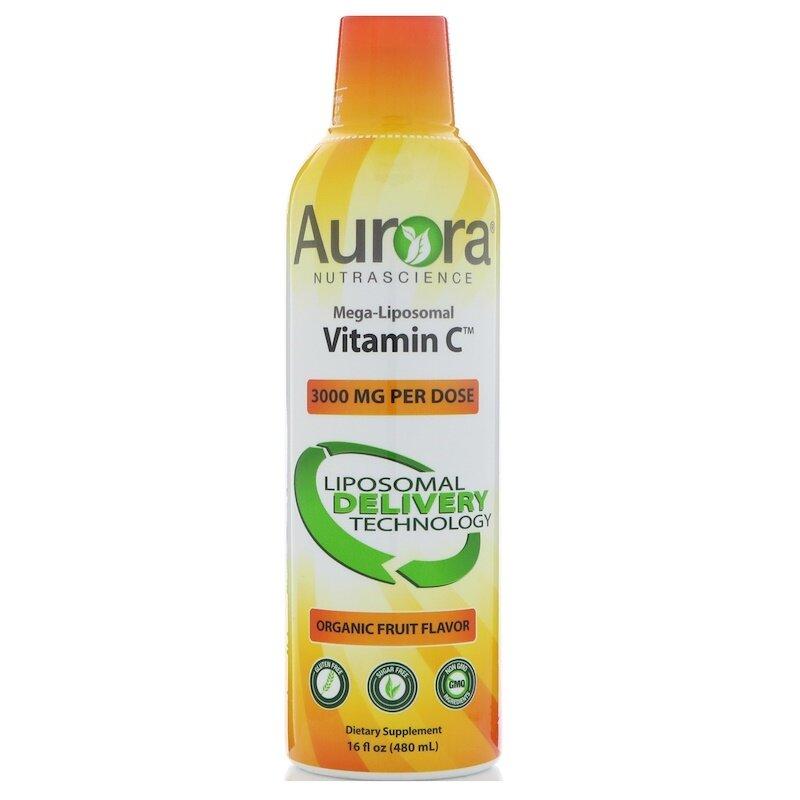 Aurora Nutrascience, Mega-Liposomal Vitamin C, Organic Fruit Flavor, 3000 mg, 480 ml C
