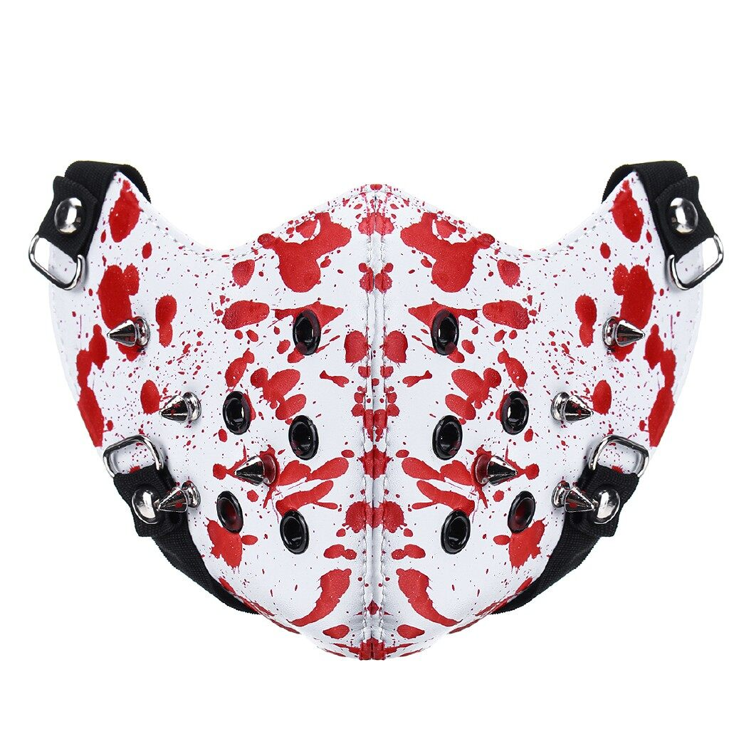Riding Gear - Anti Dust Steampunk Metal Rivet Punk Filter Half Face Mask Cycling Bicycle Bike - BRITISH FLAG / BLACK / RED / BROWN / BRONZE / CAMOUFLAGE / WHITE
