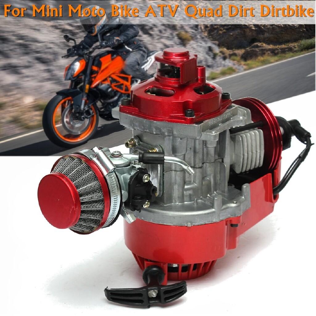 Moto Accessories - Red 2 Stroke Manual Racing Engine Mini-Moto MINI Pocket Air Cooled ATV Dirt Bike - Motorcycles, Parts